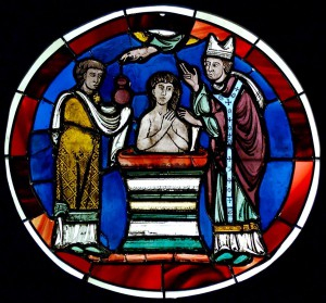 Scene of baptism. Stained glass, Paris, last quarter of the 12th century. From the Sainte-Chapelle of Paris.