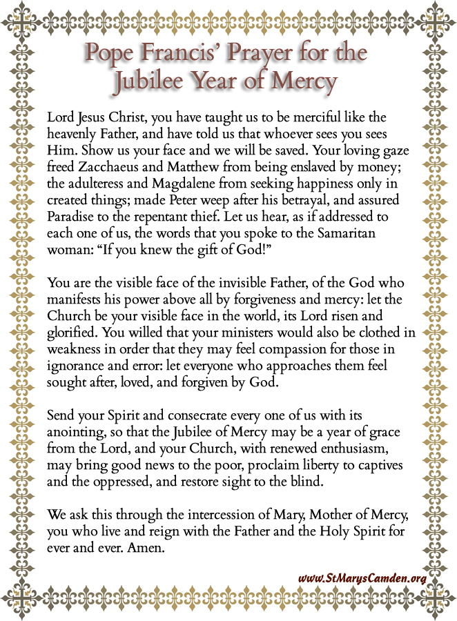 Pope Francis\' Prayer for Jubilee Year of Mercy | St Mary\'s Catholic ...